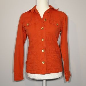 CAbi Red Denim Ruffle Peplum Jacket - XS